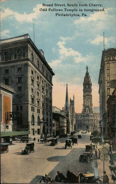 Broad Street, South from Cherry - Old Fellows Temple in Foreground Philadelphia Pennsylvania