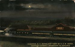 Moonlight View of O&W Depot Showing Catskill Mountains in Distance Postcard