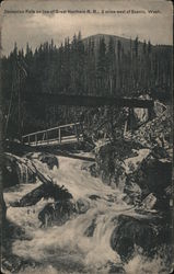 Deception Falls on Line of Great Northern RR Postcard