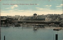 Waterfront, Showing Great Northern Depot Postcard