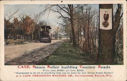 Case Steam Roller Building Country Roads, J.I. Case Threshing Machine Co. Postcard