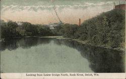 Looking from Lower Bridge North - Rock River Postcard