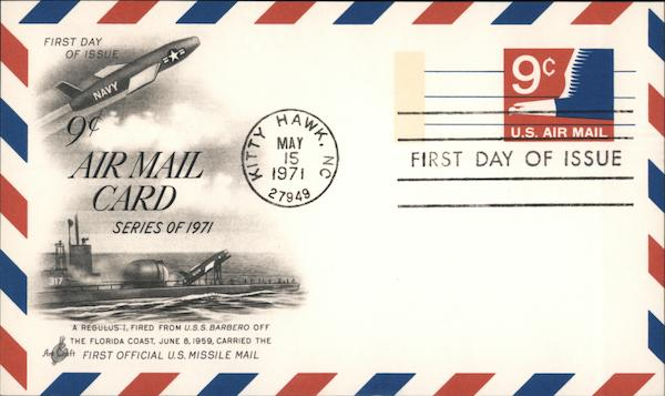 Nine Cent Air Mail Card, First Day of Issue Kitty Hawk North Carolina
