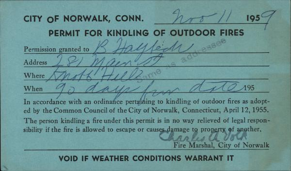 City of Norwalk Permit for Outdoor Fire Connecticut
