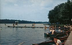 Boat Dock and Beach at Vails Grove, Peach Lake N.Y.