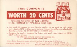 This coupon is worth 20 cents towards the purchase of two 6-bottle (12oz.) cartons of Pepsi-Cola (King Size)