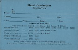 Hotel Cornhusker Reservation Card, Lincoln, Nebraska