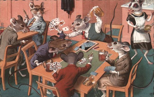 Mice in Clothing Playing Cards and Drinking Beer