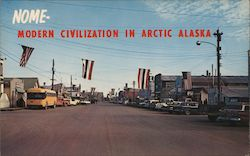 Main Street, Modern Civilization in Arctic Alaska Postcard