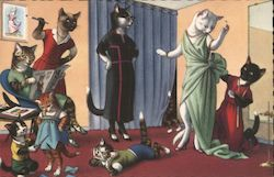Anthropomorphic cats fitting dresses