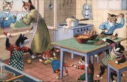 Anthropomorphic cats in the kitchen