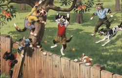Cats in Clothing Climbing a Tree and Fence