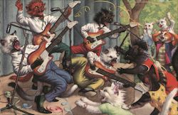 Cats Rock Out on Electric Guitars to an Audience of Screaming Cat Groupies