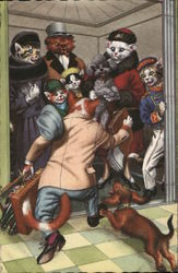 Cats in Clothing with Dogs on an Elevator