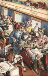 Anthropomorphic cats spilling food on a train