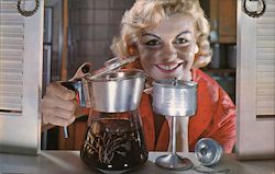 Smiling Blonde Woman with Percolator of Coffee