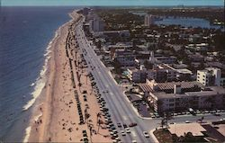 Aerial view of Fort Lauderdale, Florida, looking South on miles of lovely beach