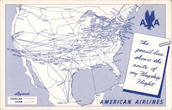 The pencil line shows the route of my Flagship Flight: American Airlines
