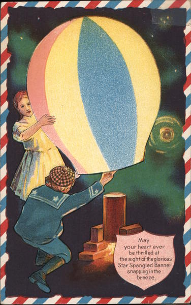 Boy and Girl Lighting a Paper Lantern Patriotic