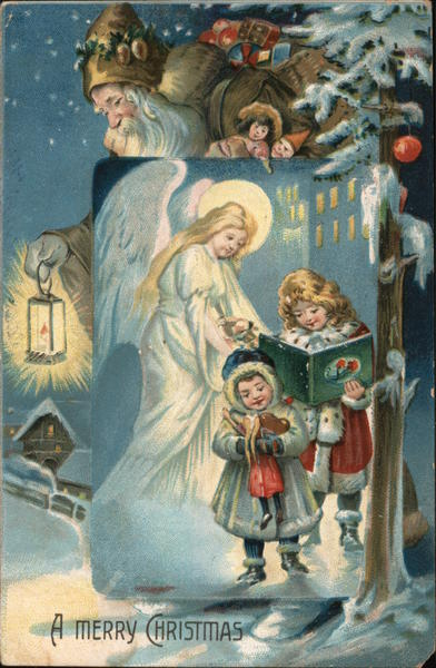 A Merry Christmas, Santa in Brown, Angel, Children