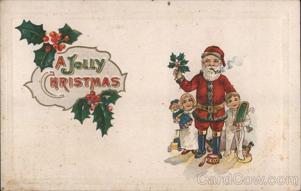 A Jolly Christmas - Santa with Two Children Santa Claus