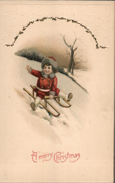 A Merry Christmas - A Child Sledding Down Hill Children