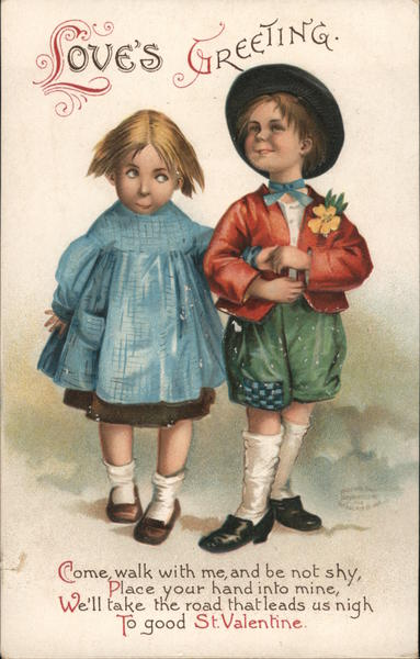 Boy and Girl Strolling: Love's Greeting Ellen Clapsaddle
