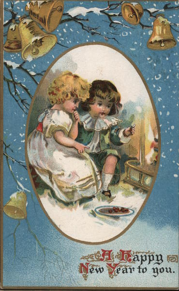 A Happy New Year to You - Two Children Sitting