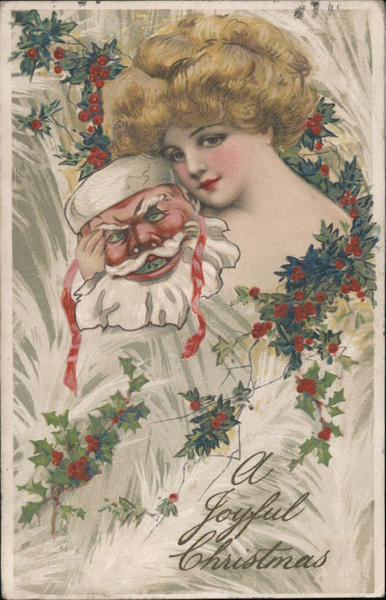 A Joyful Christmas - A Woman Holding a Santa Mask Samuel L. Schmucker