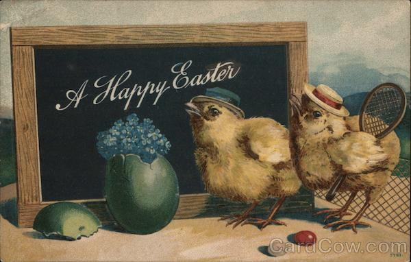 A Happy Easter- Two Chicks Wearing hats With Chicks