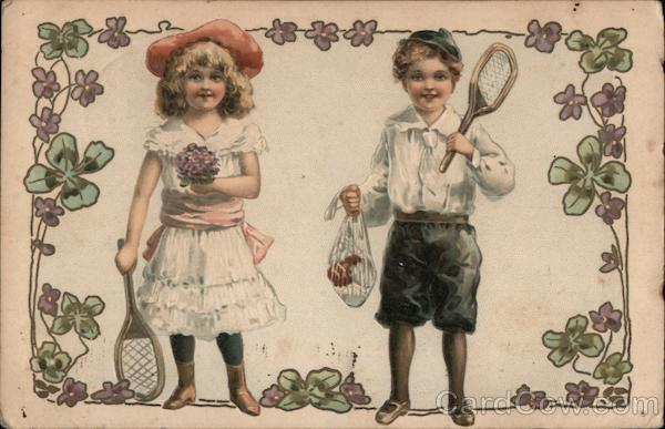 Boy and girl tennis players