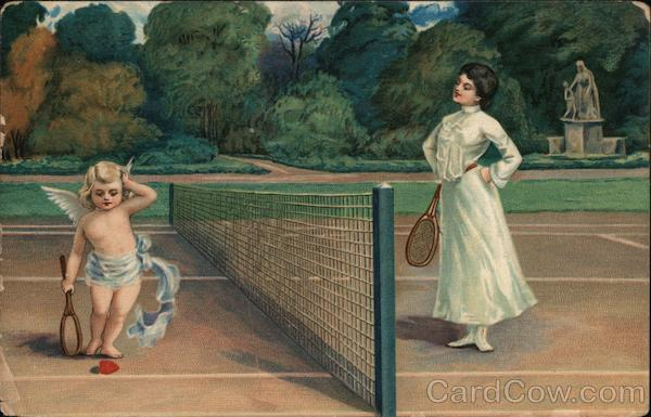 A Woman Playing Tennis with Cupid