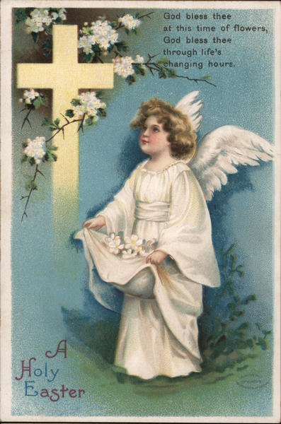 A Holy Easter - An Angel in Front of a Cross Ellen Clapsaddle