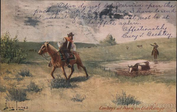 Cowboys at Work on the Range John Innes Cowboy Western