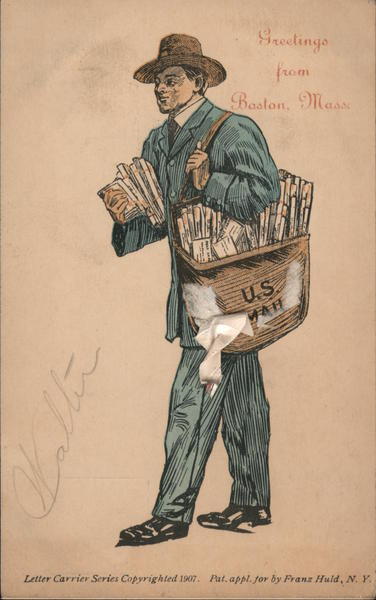 Greetings from Boston Mass. - Letter Carrier With a bag of Mail