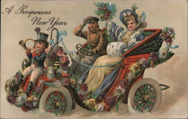 A Prosperous New Year - A Man and a Woman in a Decorated Car