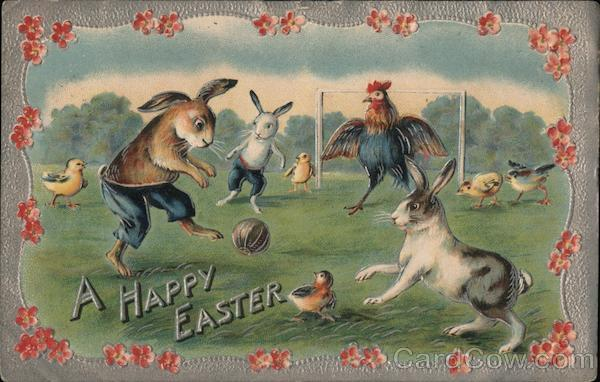 A Happy Easter - Bunnies Playing Soccer With Bunnies