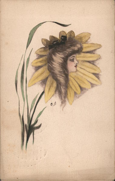 A Woman's Picture on Top of a Sunflower Fantasy