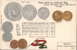 Post Card with Austria Flag and Coins