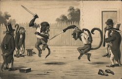 Two Monkeys Fighting with Swords