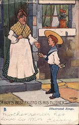 """A Boy's Bestfried is His Mother"" Postcard"