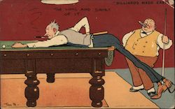 The Long and Short of It - Two Men Playing Pool Postcard