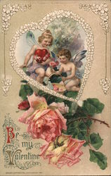 Be My Valentine - Two Angels Holding a Heart and a Basket