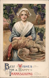 Best Wishes for a Happy Thanksgiving - A Woman Holding a Turkey Postcard