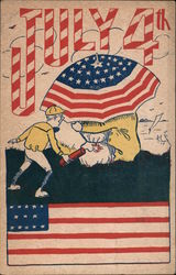July 4th -- Boy with lit firecracker sneaks up behind a couple under a stars-and-stripes umbrella