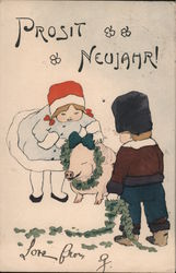 Prosit Neujahr: Children Putting Wreath Around Pig