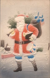 A Merry Christmas - Santa Carrying a Toy Bag