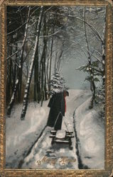 Merry Christmas - A Person Pulling a Sled Through Snow