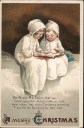 Two Children Reading Book: A Merry Christmas