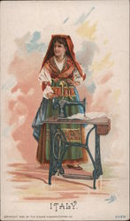 Italy - A Woman Standing by a Singer Sewing Machine